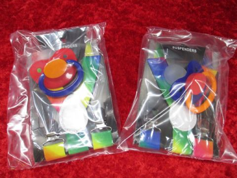 Pride Rainbow Suspenders and Trio Coloured Adult Sized Paci